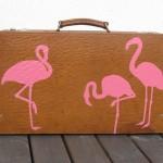 Koffert med flamingo
